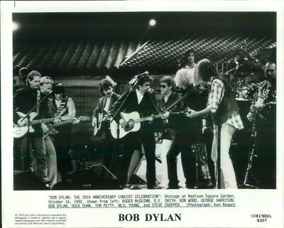 Press Photo: BOB DYLAN Ron Wood GEORGE HARRISON Tom Petty NEIL YOUNG 8x10 B&W 90