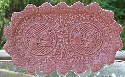 Pink Bordallo Pinheiro Rabbit Pattern Made in Portugal Serving Plate