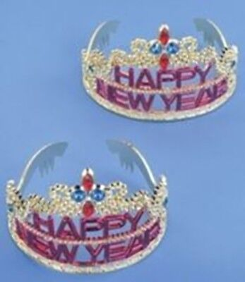 HAPPY NEW YEAR SILVER TIARA Headband Headpiece One Size Girl Child Plastic Crown