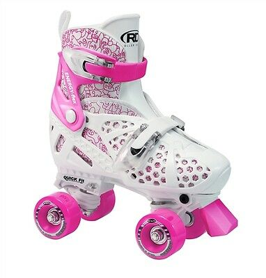 ROLLER DERBY TRAC STAR Adjustable Skates PLUS Guards -GIRLS/KIDS US J12-2, PINK