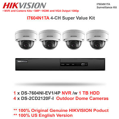 NEW! Hikvsion i7604N1TA 4CH Super Value IP Kit w/4 Dome Cameras/1 NVR/1TB HDD