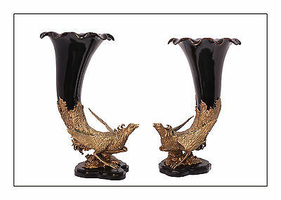 Brass Ceramics Pair Vases Table centerpiece Pheasant magnificently 99937820-dss