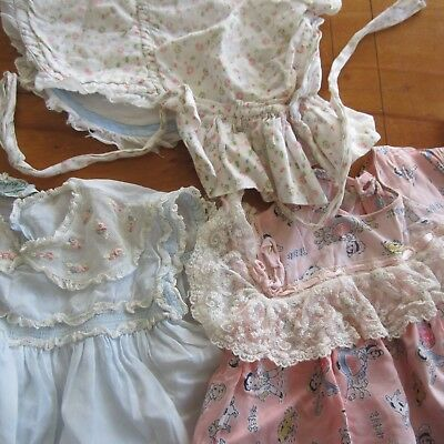 3 Vintage Baby / Doll Dress &  Hat All Tlc Needed Gorgeous Fabrics 1940S 50S
