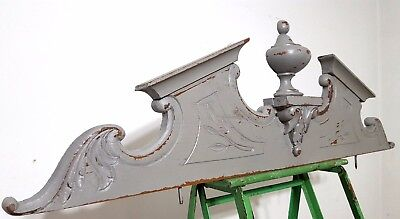 "SHABBY CARVED WOOD PEDIMENT 39"" SOLID ANTIQUE FRENCH MOUNT CORNICE CREST 19th"