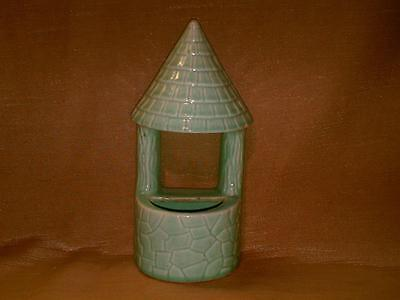 Vintage Morton Pottery Wishing Well Wall Pocket Planter-Green