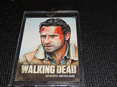 Rick Grimes Sketch Card 1/1 AMC Cryptozoic Walking Dead Season 2 Mint Holy Grail