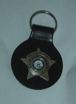 Chicago Police Officer Badge Key Chain on Leather Strap