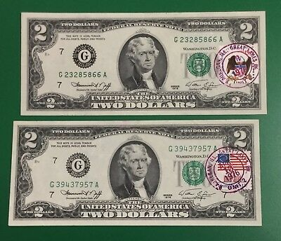 1976 $2 Chicago DEUCES First Day Issues Set of 2 X866 Nice Choice VF! Currency!