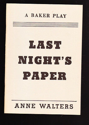 vintage 1961 BAKER PLAY ANNE WALTERS LAST NIGHT'S PAPER ONE ACT COMEDY