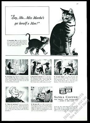 1940 cat mom and kitten cute art Sanka coffee vintage print ad