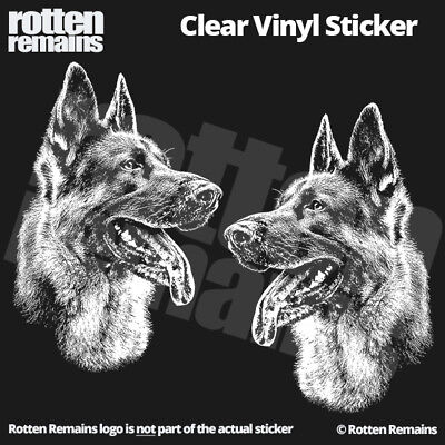 "German Shepherd Dog Clear Gloss Decal Sticker 5"" SET Alsatian GSD K9 Art L44"