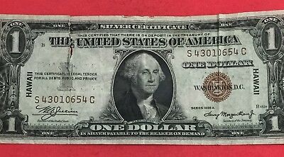 "1935A $1 Brown Seal ""HAWAII"" Emergency WWII SILVER Certificate X654 Currency!"