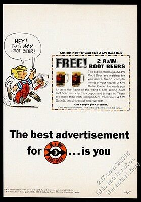 1966 A&W root beer Dennis the Menace & Ruff cartoon vintage print ad