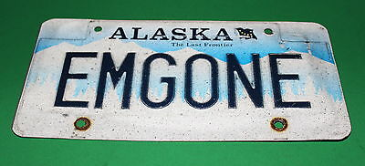 Alaska Personalized License Plate Emgone Used