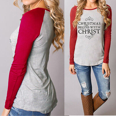 USA Women Christmas Casual T-Shirts Cotton Long Sleeve Tops Blouse Plus Size