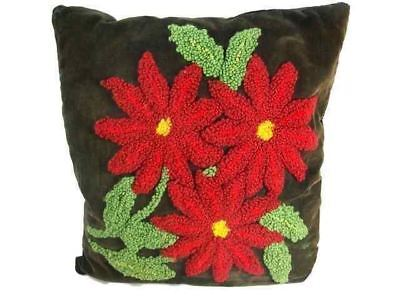 Victorian Velvet Pillow Red Poinsettia Hand Embroidered Down Filled