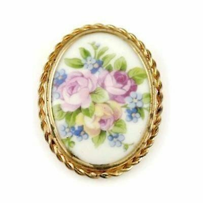 Beautiful Antique Victorian Transferware Roses Pin Brooch Limoges France