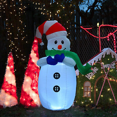 Large Inflatable Snowman w/ LEDs Inflator for Outdoor Garden Christmas Decor