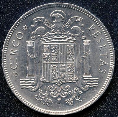 1949 Spain 5 Pesetas Coin (1949 In Stars)
