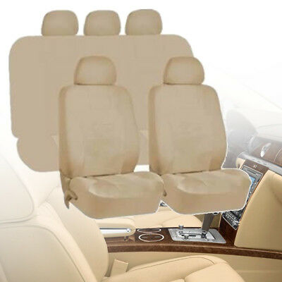 Universal Beige Car Seat Covers Protectors Full 9 Piece Set Washable Front Rear