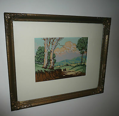 ANTIQUE  SCREEN PRINT c1930s BY LEYSHON WHITE 1894-1962 TITLED HOMEWARD BOUND