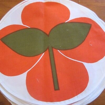 3 Large Circular Placemats Cotton Fabric Retro 1960S 70S  Orange Flower Vintage