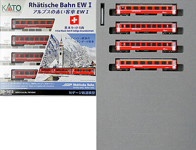 Kato 10-1413 10-1414 Swiss Alpine Red Passenger Car (Coach) 8 Cars Set (N scale)