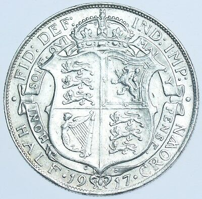 1917 Halfcrown British Silver Coin From George V Ef