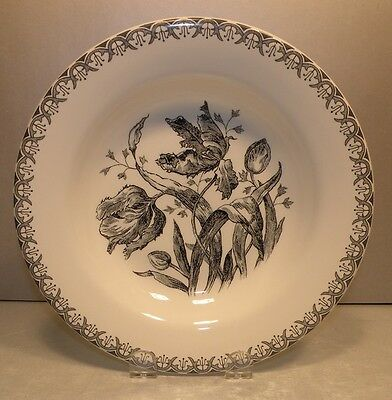 NEW Rim Soup Plate Tulipes Noires Pattern From GIEN