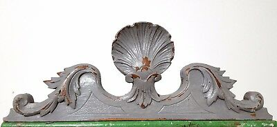 "Shabby Hand Carved Wood Pediment 15"" Antique French Shell Architectural Salvage"