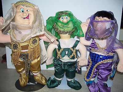 "Three Stooges in Harem Costumes 1996 Spumco TV Pals  10"" - 12"" Plush Toys Rare"