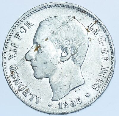 Spain, Alfonso Xii, 5 Pesetas, 1885 Ms-M, Silver Coin Vf