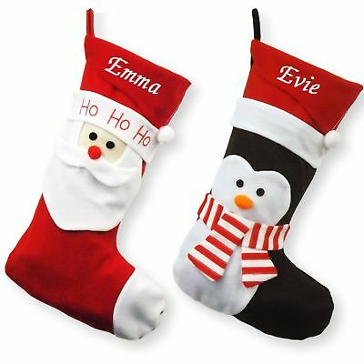 Personalised Luxury Embroidered Xmas Stocking Sack 3D Deluxe Christmas Santa