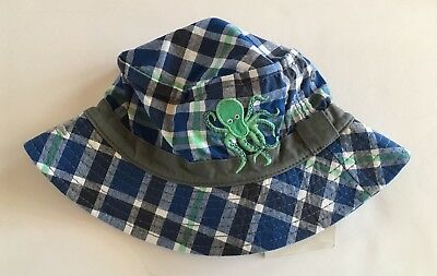 4dd48671b5b NWT GYMBOREE DEEP Sea Adventure 4T-5T Blue Plaid Octopus Bucket Hat ...
