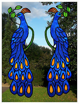 Pair of Peacocks Window Decor Stained Glass effect window clings