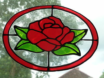 OVAL ROSE Stained Glass Effect WINDOW CLING