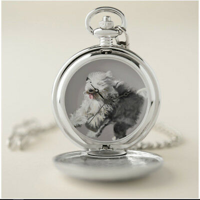 Pocket Watch with Clip -Old English Sheepdog