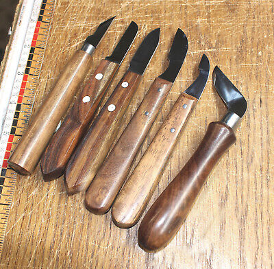 Lot Of 6 Chip Carving Whittling Knives Leather Bench Craft Tools