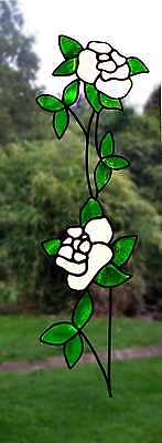 One Trailing Rose Stained Glass Effect Window Decor Cling