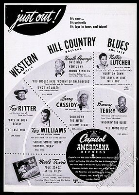 1947 Sonny Terry photo Nellie Lutcher Tex RItter photo Capitol Records trade ad
