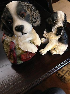 Lot Of Two Great Cocker Spaniel Dogs One Bank One Figurine With Free Shipping