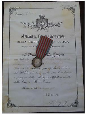 Italy WWI Italian Turkish War Military Medal Commemorative Decoration DIPLOMA