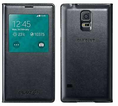 New Genuine Official Original Samsung Galaxy S5 S View Flip Case Cover Black