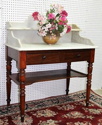 Antique American Victorian Walnut Marble Top Wash stand Commode Circa 1850