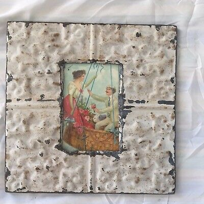 "Antique 1890's Ceiling Tin Picture Frame 4"" x 6"" Reclaimed Metal Ivory 475-17"