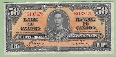1937 Bank of Canada 50 Dollar Note - Coyne/Towers - B/H 5137476 - VF/EF