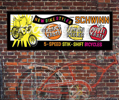 Schwinn Bicycle Krate Sting-ray Window Banner / Poster * SCHWINN APPROVED