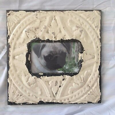 "Antique 1890's Ceiling Tin Picture Frame 4"" x 6"" Reclaimed Metal Ivory 480-17"