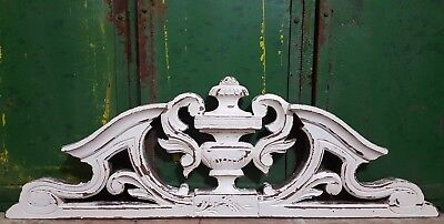 SHABBY HAND CARVED WOOD PEDIMENT SOLID ANTIQUE FRENCH ARCHITECTURAL SALVAGE 19th