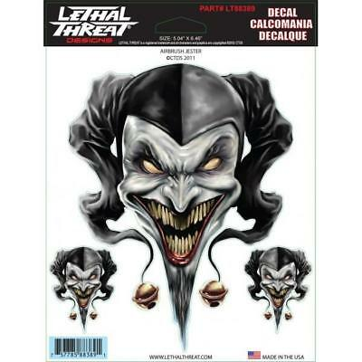 LETHAL THREAT Motorcycle Car Board Can Bike Truck Decal Sticker AIRBRUSH JESTER